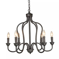 black chandelier iron 6 pendant light metal home decoration lamp