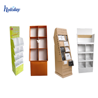 Retail Book Store Floor Cardboard Book Magazine Pocket Display Stands Racks For Comic Book