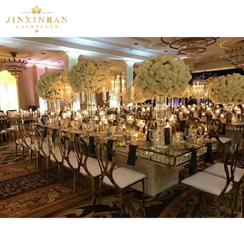 Factory direct sale gold wedding banquet cheap white wedding stainless steel frame chair