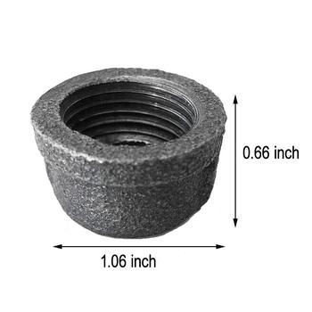 1/2 Inch Black Malleable Iron Cast Pipe Fitting Cap for DIY decor