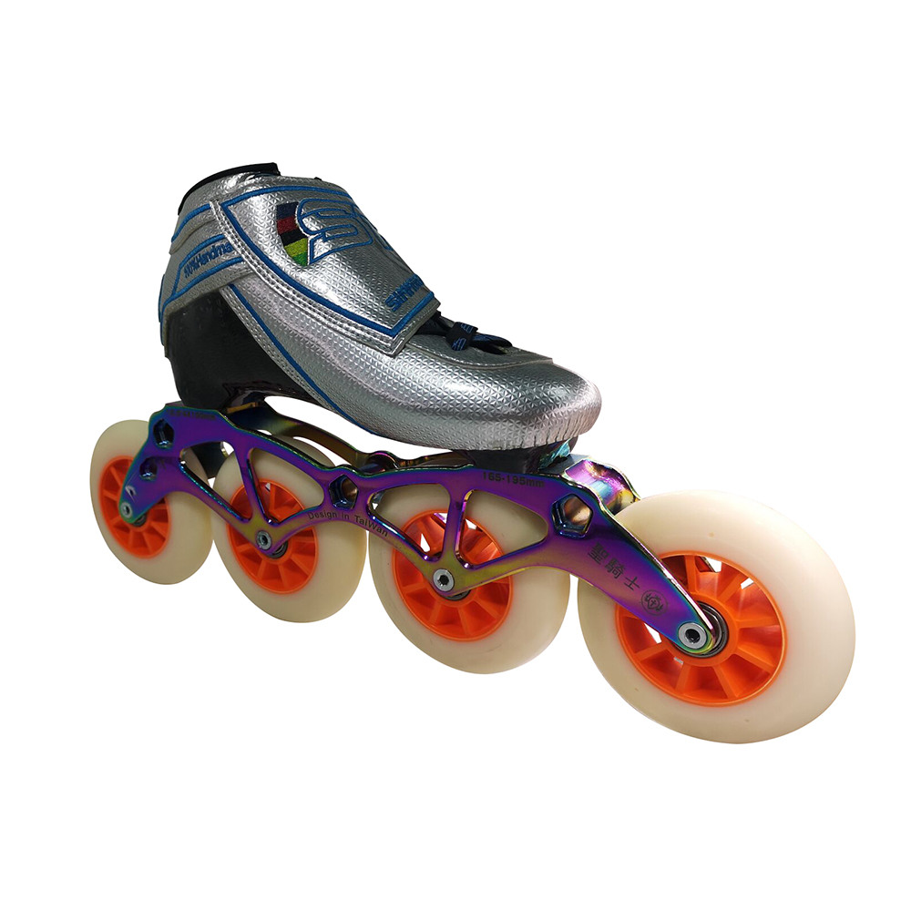 Outdoor Kids and Adults 4 Wheel skate shoes Inline Speed Skates shoe girl skates, Silvery