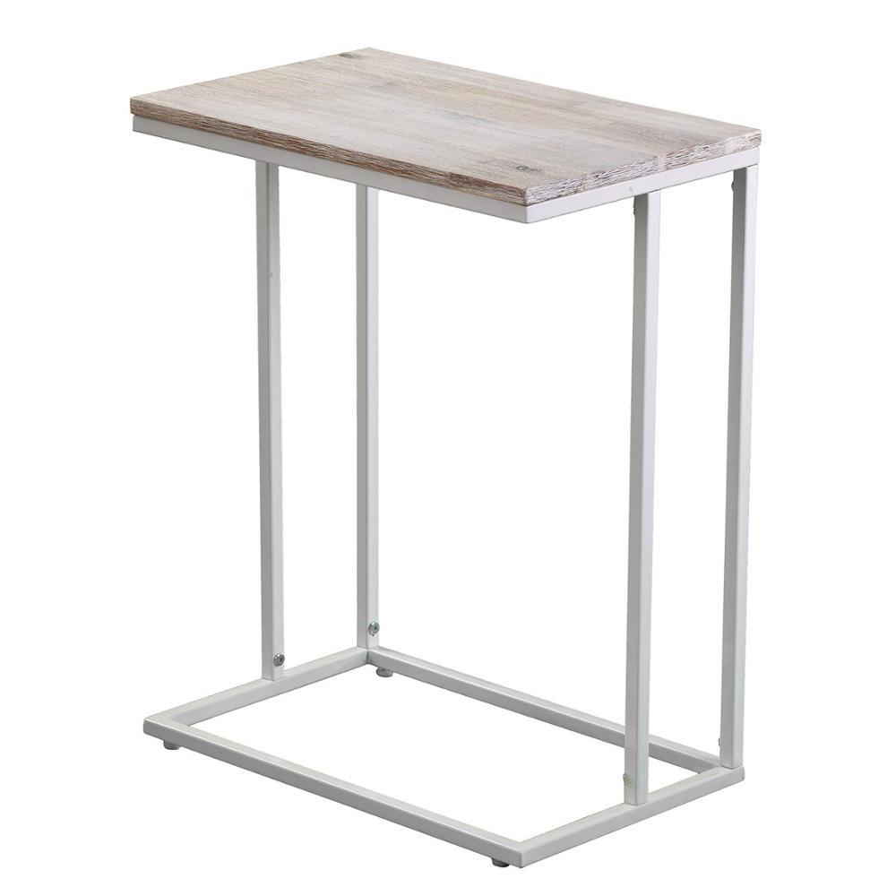 C Shaped End Table Slides Under Sofa Wood Top Metal Frame Side Product On Alibaba