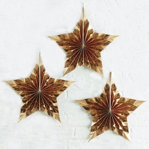 Callfeny 3PCS Stylish gold Star Shaped Hanging Fan Decorations For Christmas Party, OEM Service, Amazon Hot Sell