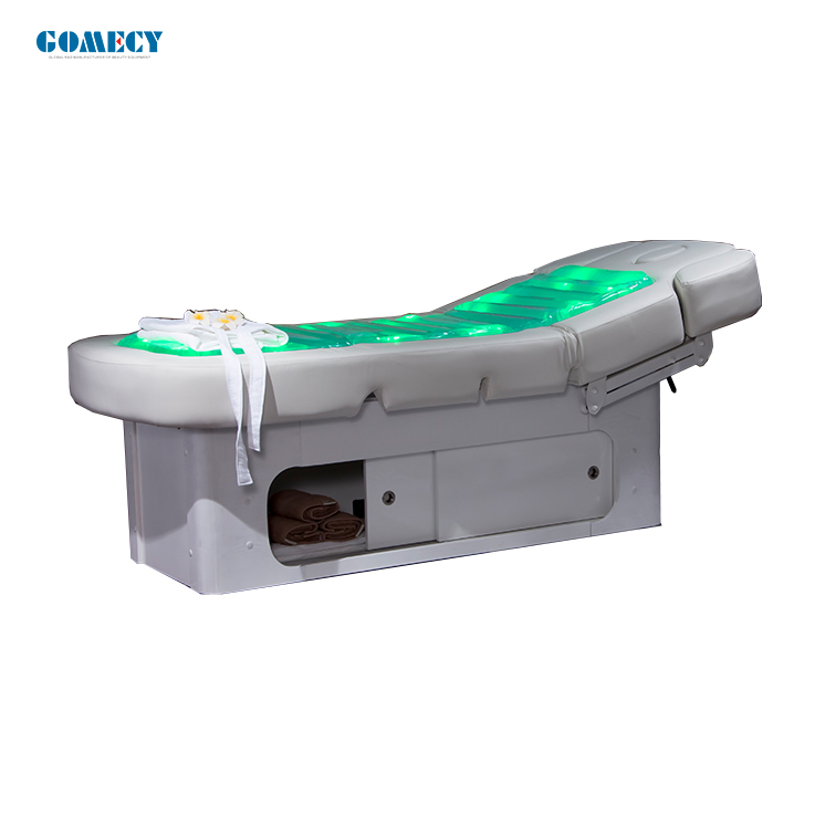 GOMECY 2019 luxury beijing electric lifting water LED light heating electric salon water massage facial beauty bed for sale