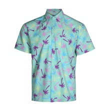 100% polyester korte mouw custom gedrukt button up hawaiian strand overhemd