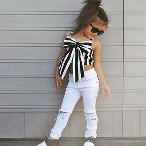 New Arrivals European Style Kid Clothes White Top Off Shoulder Ripped Jeans Set