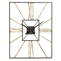 Big Size Personalized Roman Number Metal Square Shape Rectangle Wall Clock