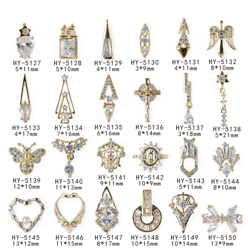 HY-5127-5150 Factory sells the popular style zircon nail ornament angel ring micro zirconium 3D butterfly metal nail decoration фото