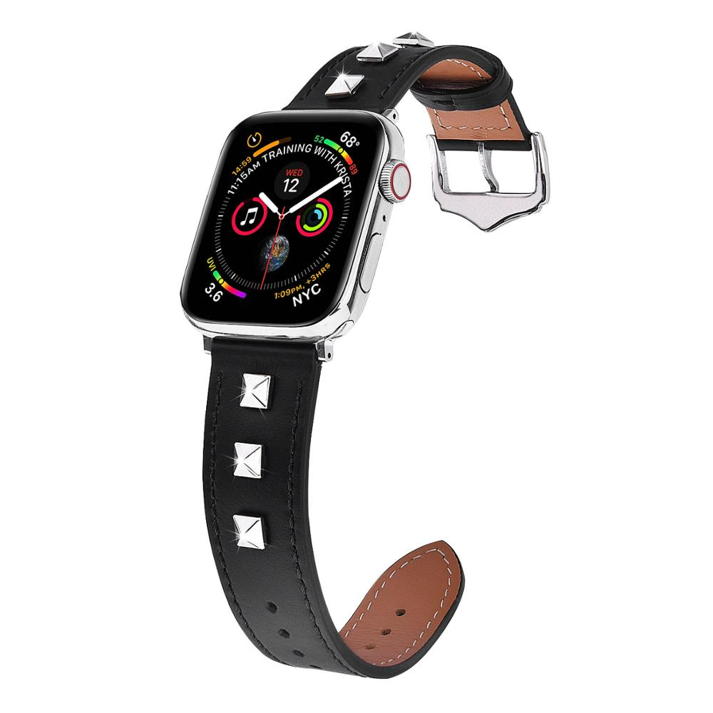 Hot sale Studded Leather  smartwatch bands 38mm for iwatch Girl Female Design  Genuine Leather bracelet for Apple Watch Series 4