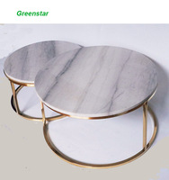 KD DIY and Customized High quality Gold Finishing hotel and Living Room Marble Table Stainless Steel Coffee Side End Table