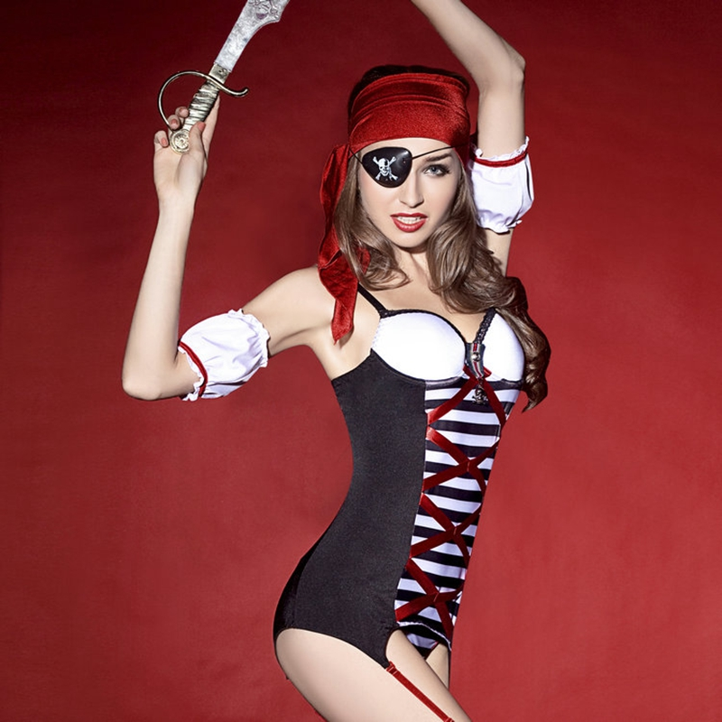 Fancy dress sexy pirates costume include halter tops thong stockings sexy lingerie for women