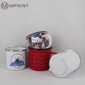 Vintage white  blank sublimation coated logo coffee tin cup enamel custom logo travel mug