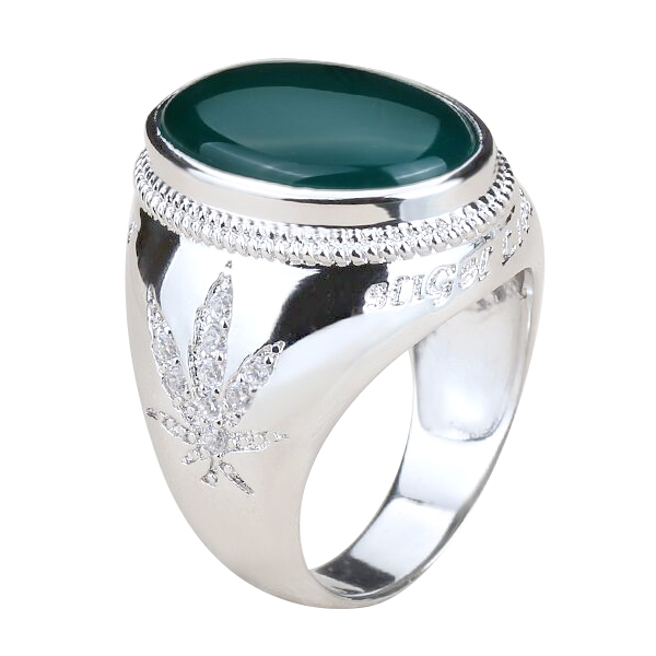 Online Wholesale Jewelry 925 Sterling Silver Green Agate Mens Rings