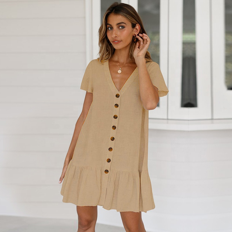 2019 womens clothes summer fashion single-breast sexy deep V neck cotton and linen dress фото