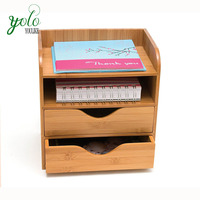 Office Desktop 4 tiers Bamboo Organizer for Files, Paper Tray, Letter Sorter, Document Holder