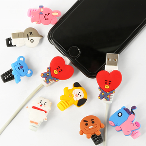 Wholesale BTS Kpop Creative Cute Cartoon Mobile Phone Charging Line Protection Sleeve BT21 Data Line Head Protection