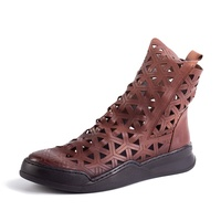 Latest Design Vintage Leather Boots, High Top Ankle Women Boots Summer