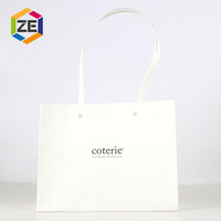 Custom Famous Brand Printed White Shopping Paper Bag , Small Fancy Gift Paper Bag For Clothing