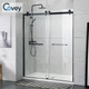 Double sliding door black structure stainless steel customized modern shower enclosure clear shower room