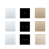 EU Standard Switch Wall Touch Switch Luxury White black Gold Crystal Glass, 1 Gang 1 Way Switch, AC 220-250