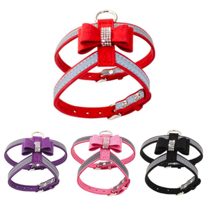 Pet Microfiber Bright Rhinestones Bow Knot Reflective Chest Belt Leash NEW Bling Dog Harness