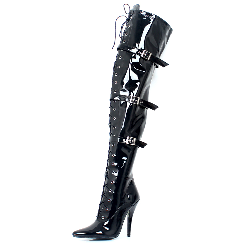 Sexy Pointed-toe 12CM High Heel Patent Buckles Fetish Exotic Over the Knee Boots THigh High Boots For Women