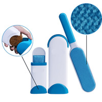 Pet hair lint remover brush with self-cleaning base double-sided dog cat pet hair removal brush