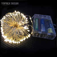 TOPREX DECOR 5M with 50leds Copper wire Warm white led fairy lights battery operated