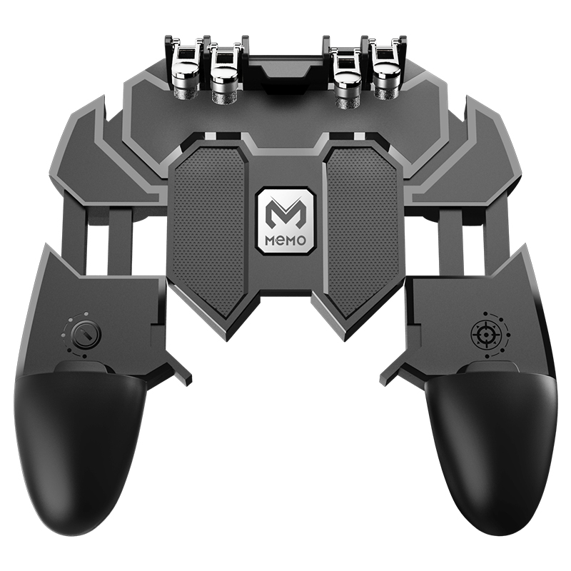 AK66 Six Finger All-in-One Mobile Game Controller Free Fire Key Button Joystick Gamepad L1 R1 Trigger for PUBG, Black