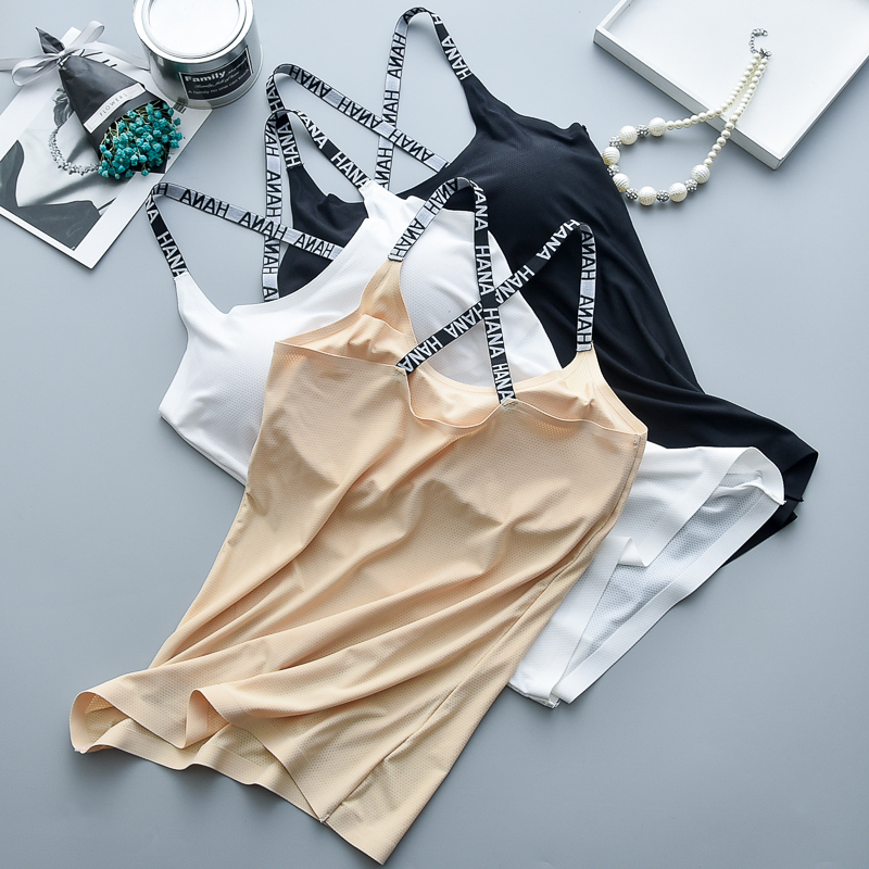 Elastic letter shoulder strap camisole with padded fashion women tops wholesale fitness camisole фото