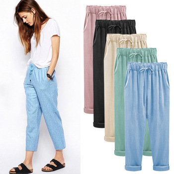 Women's pants summer new style linen pants Comfortable Nine-Cent Pants