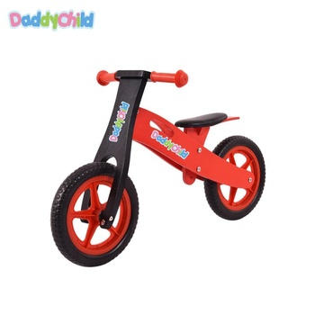 Natural wood mini bicycle baby balance bike with 12 inch tire