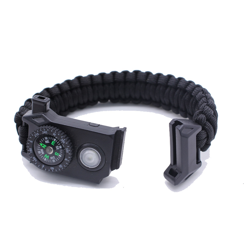 Custom SOS 휘슬 스크레이퍼 (kindle Fire Starter 550 Wholesale 5 in 1 생존 Paracord 로프 Bracelet 와 LED