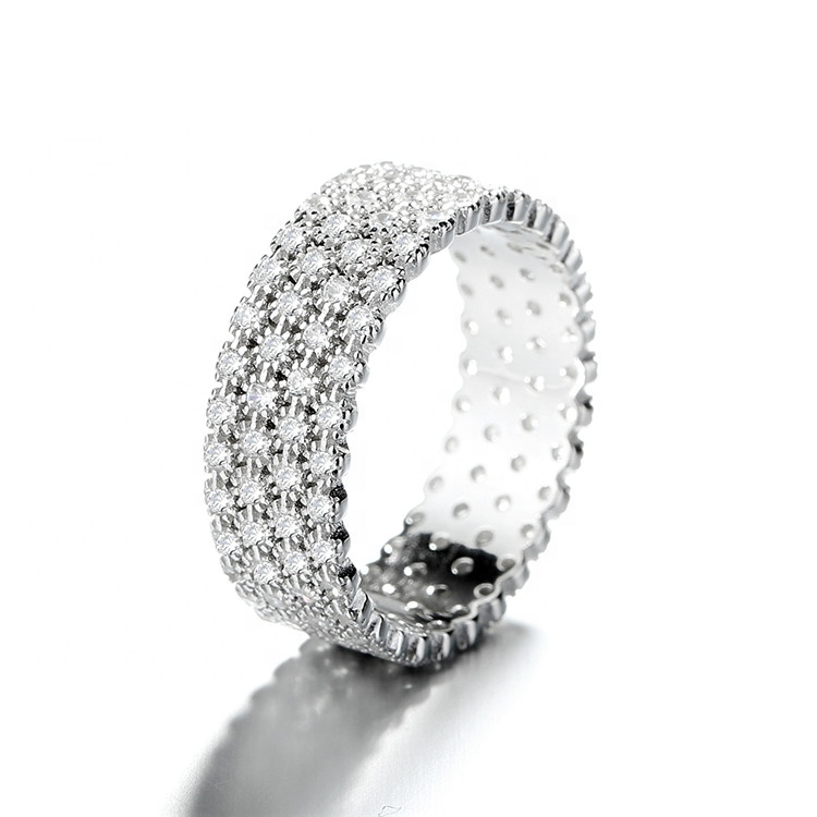 High Quality Full Pave Setting CZ Unisex 925 Silver Ring фото