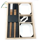 Concise Style Bamboo Black And White Chopsticks Dinner Set