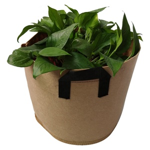 Mass sales tan color planting fabric pots with handles