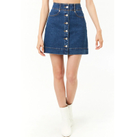 A-LINE MINI BUTTON DENIM SKIRT