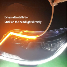 Dual 색 car auto 60 cm 45 cm 30 cm <span class=keywords><strong>drl</strong></span> led 낮 Led strip swichback 낮 running light lamp 다음과 유연한 <span class=keywords><strong>drl</strong></span>