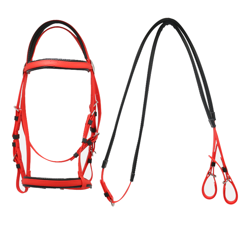 PVC Snaffle Horse Bridle Leather,Horse Equipment Micklem Leather Horse Bridle With Rein, Red;blue;white;black;yellow;pink etc