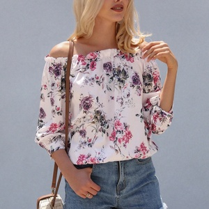 Hot Sexy Off Shoulder Women Top Ruffles Floral Lady Blouse