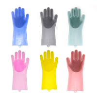 Promotional Silicone Magic Scrubbing Brush Gloves Cleaning Washing Dishes Glove