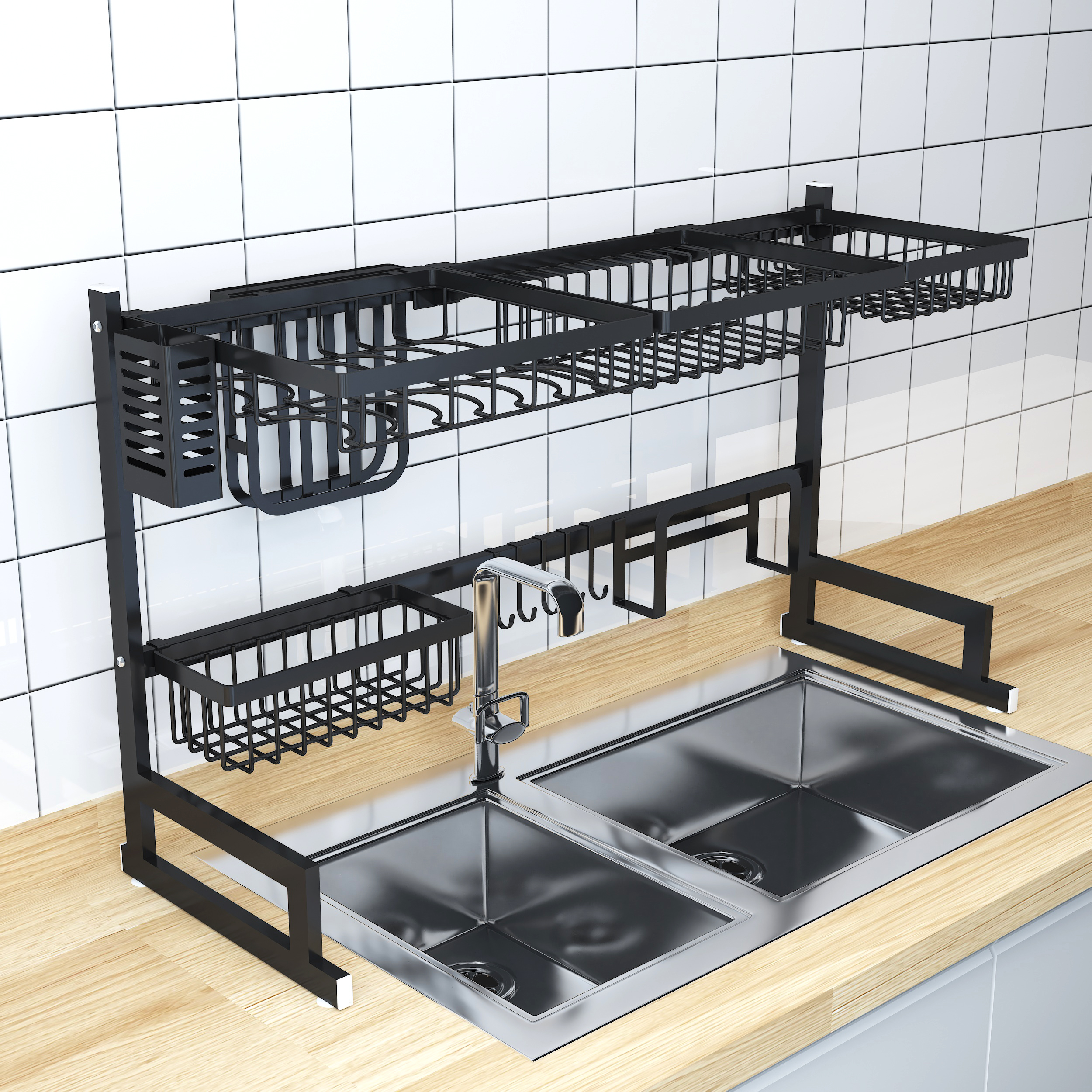 Stainless Steel Over Sink with Black Kitchen Organizer Dish Drainer Rack фото