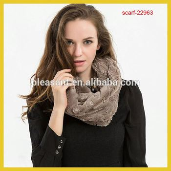 2015 New Fashion Winter brown Color Fur Infinity Scarf Snood For Women Ladies Gifts