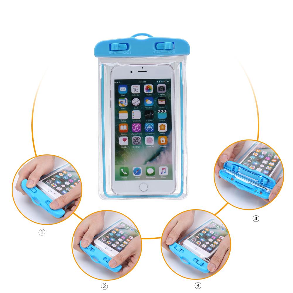 Factory wholesale customizable luminous fluorescent PVC transparent waterproof case bag for smart phones фото