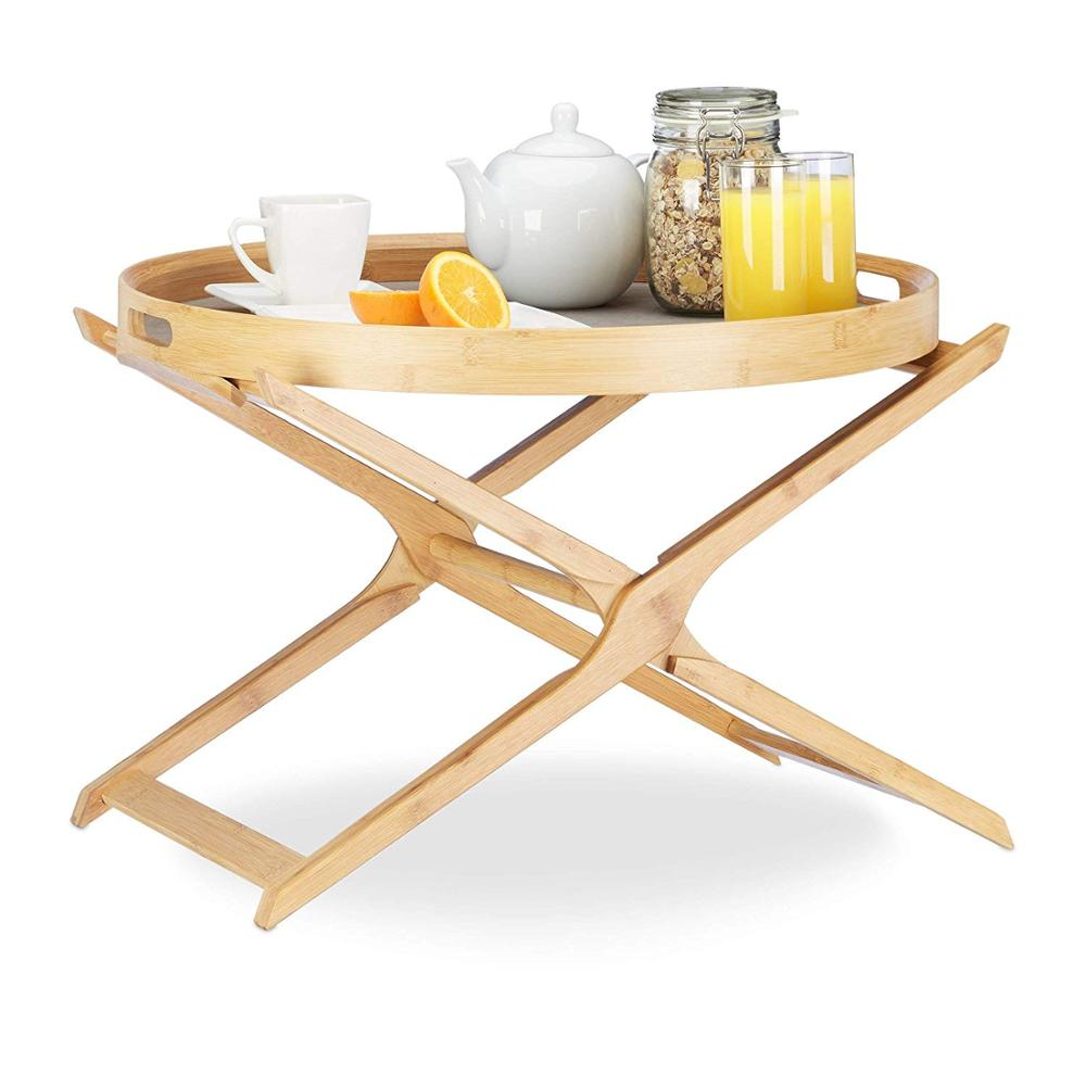 Round Folding Coffee <strong>Table</strong> Tabletop with Removable Serving Tray Bamboo Coffee <strong>Table</strong>