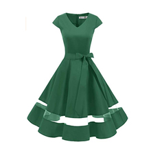 Vrouwen <span class=keywords><strong>Rockabilly</strong></span> <span class=keywords><strong>Cocktail</strong></span> Party Dress Retro Vintage Swing <span class=keywords><strong>Jurk</strong></span> Cap Mouw Trouwjurk V-hals