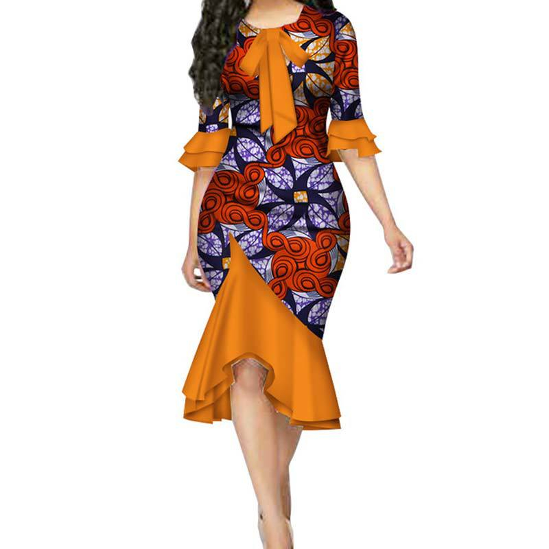 Alibaba.com / A6132 Fashion Summer African Dresses for Women Bazin Riche Bow Knot Patchwork Dress Traditional African Women Clothing