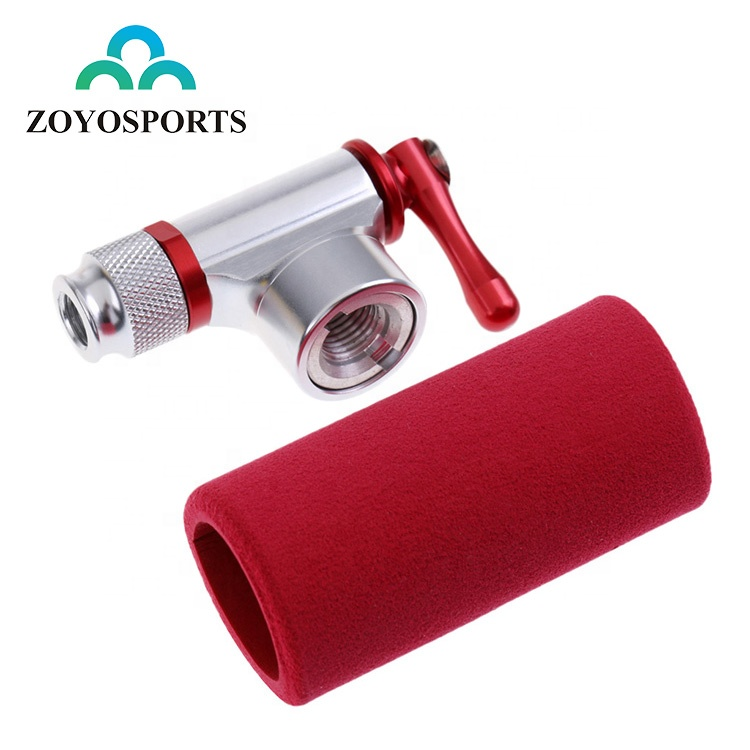 ZOYOSPORTS Mini Cycling Bicycle CO2 Inflator Head With Insulated Sleeve Set Alloy Bike Tire Air CO2 Pump фото