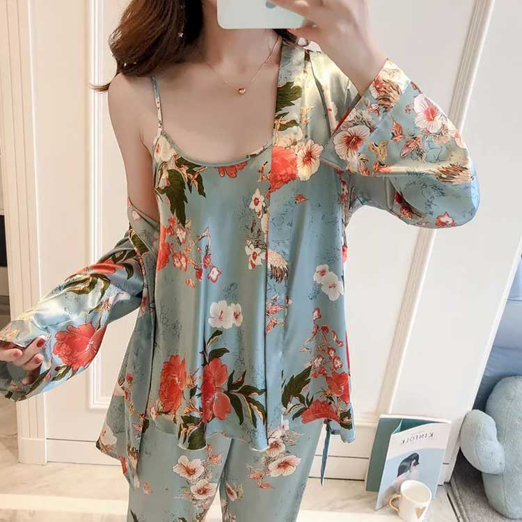 New Ladies Fashion Print girls cotton pajamas girls pajamas girls silk pajamas