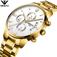 NIBOSI Fashion Mens Watch 43mm Gold Solid Stainless Steel Band IPG Chrono Watch waterproof